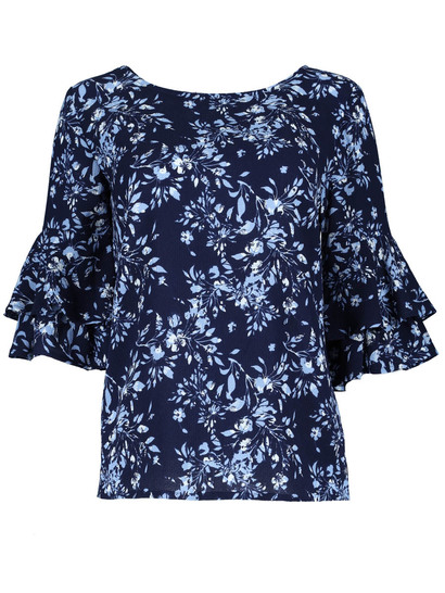 Plus Double Frill Sleeve Top Womens