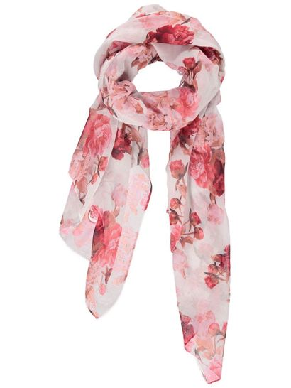 Womens Red Flower Print Scarf