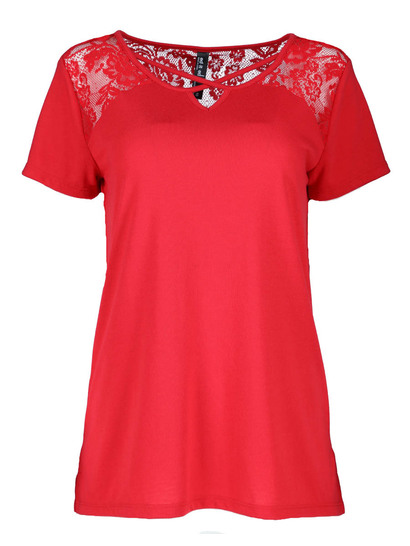 Plus Lace Yoke Tee Womens