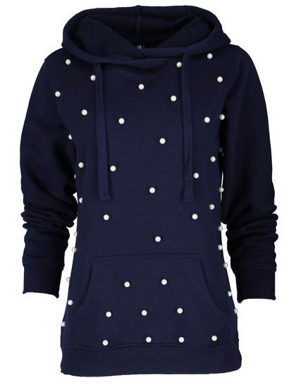 Crossover Neck Embellished Hoodie Womens