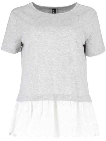 Womens Plus Broderie Hem Tee