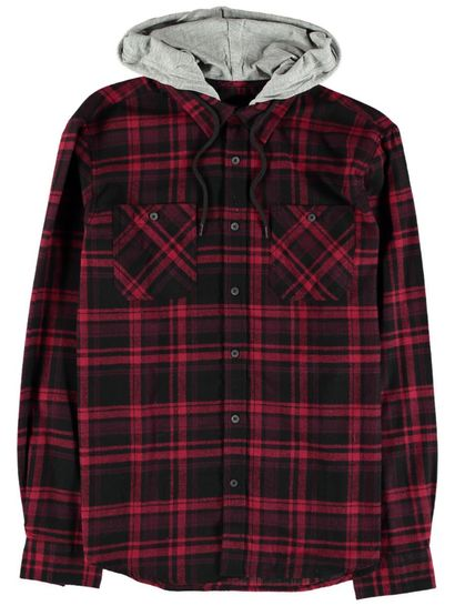 Mens Hooded Flannel Shirt