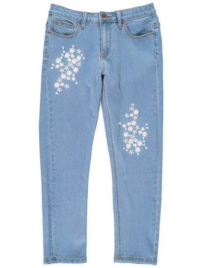 Womens Embroidered Crop Jean
