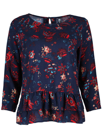 Plus All-Over Print Peplum Top Womens