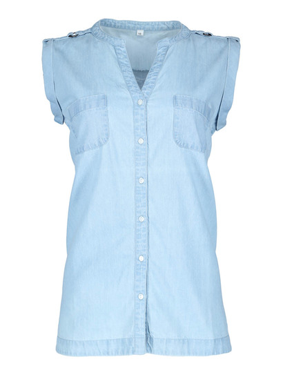 Plus Sleeveless Denim Shirt Womens