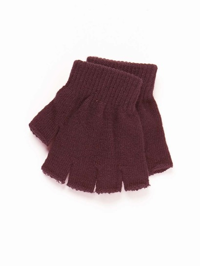 MAROON KIDS FINGERLESS GLOVES