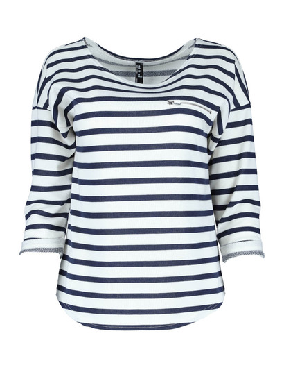 Stripe Roll Sleeve Top Womens