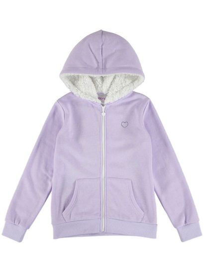 GIRLS FLEECE JACKET-SHERPA LINED HOOD