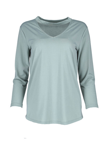Plus 3/4 Sleeve Choker Top Womens