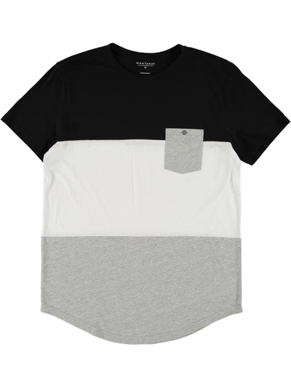 Cut & Sew Tee With Curve Hem