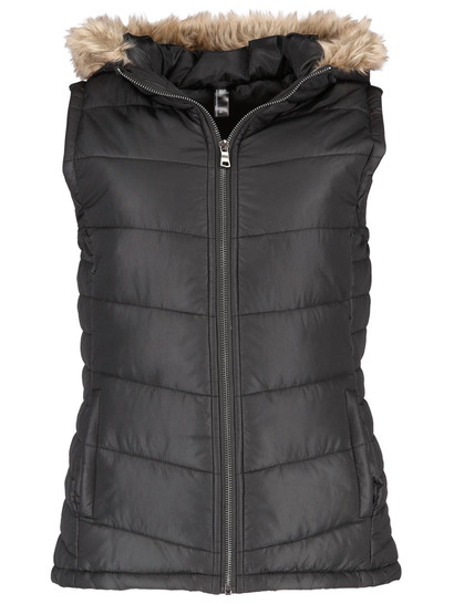 Plus Fur Trim Hooded Gilet Womens