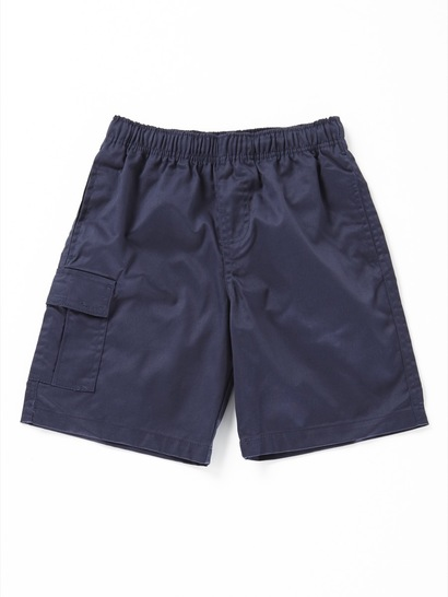 NAVY BLUE BOYS CARGO DRILL SHORTS