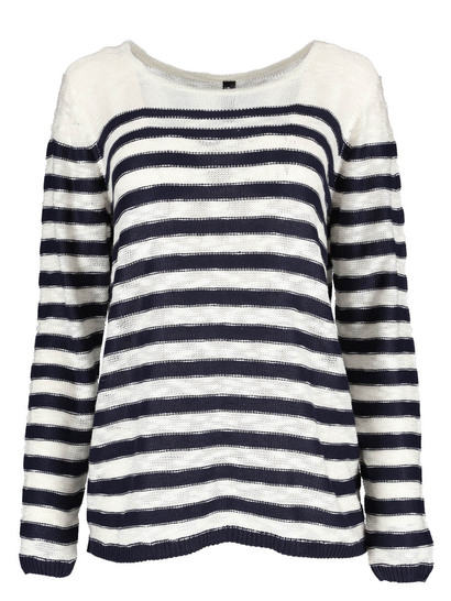 Stripe Crew Neck Pullover Womens