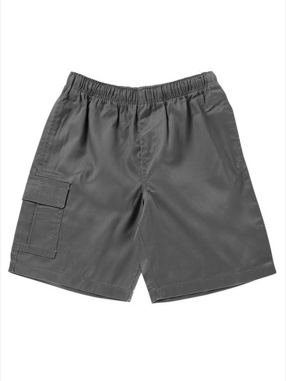 GREY BOYS CARGO DRILL SHORTS