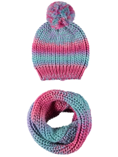 Girl Space Dyed Beanie And Snood Set