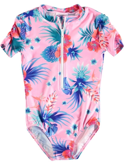 Girls Tropical Floral Swimsuit