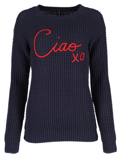 Embroidered Knit Pullover Womens