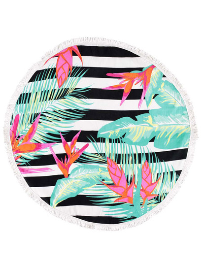 PRINTED ROUND BEACH TOWEL-BIRD OF PARADISE