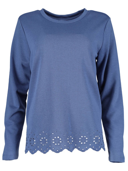 Plus Embroidered Hem Fleece Top Womens
