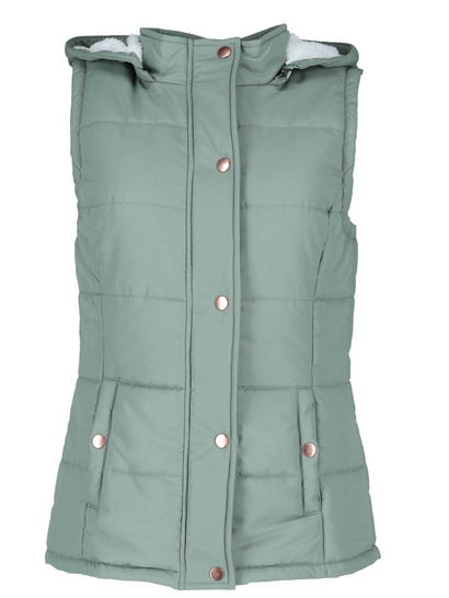 Plus Sherpa Hooded Puffa Gilet Womens