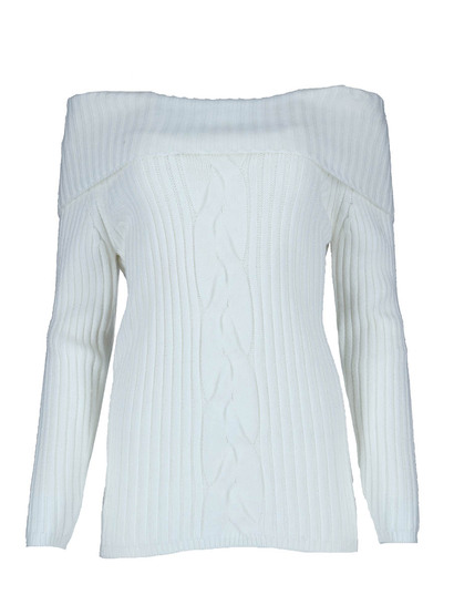 Cable Knit Bardot Pullover Womens