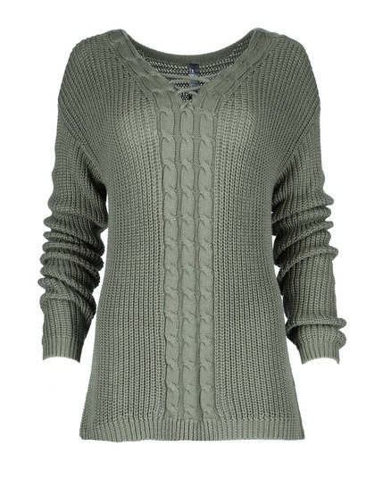 Cable Front Lattice Neck Pullover Womens