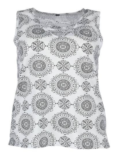 Plus Cross Neck All-Over Print Tank Womens