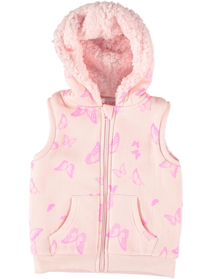Toddler Girls Printed Sherpa Vest