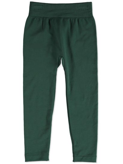 DARK GREEN GIRLS FLEECE LEGGINGS