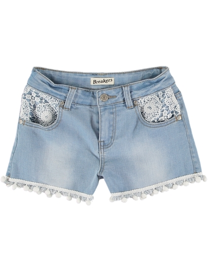 Girls Denim Short With Crochet And Pompoms