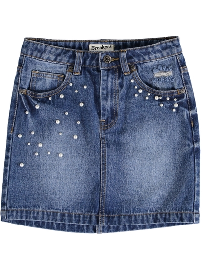 Girls Faux Pearl Trim Denim Skirt