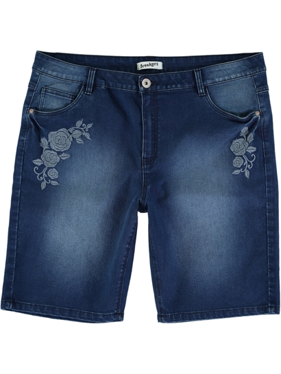 Womens Denim Embroidered Short