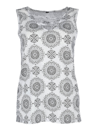 Cross Neck All-Over Print Tank Womens