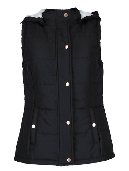 Sherpa Hooded Puffa Gilet Womens