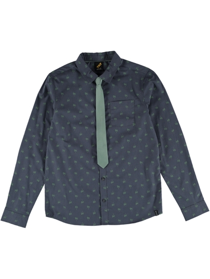 Boys Long Sleeve Woven Shirt With Tie