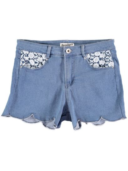 Womens Scalloped Hem Denim Short