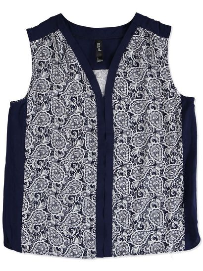 BLOCK PRINTED SLEEVELESS SHIRT WOMENS