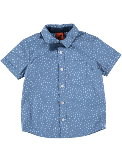 Boys Short Sleeve Woven Shirt With Bow Tie