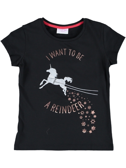Girls Christmas Unicorn Print T Shirt