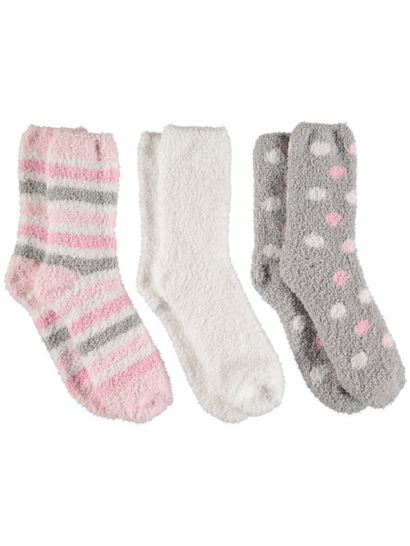 Bed Sock 3Pk Marshmellow Womens