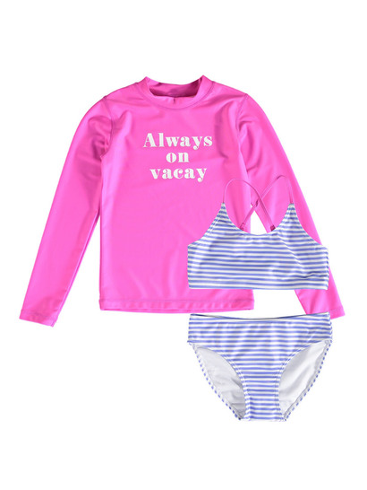 Girls Stripe Swim Set