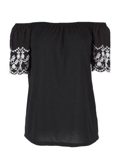 Embroidered Sleeve Gypsy Top Womens