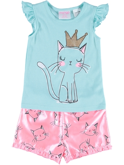 Girls Knit Satin Pyjamas