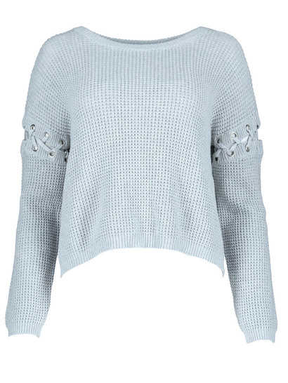 Miss Mango Eyelet Sleeve Knit Sweater
