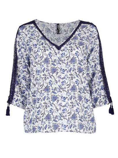 Plus Tie Cold Shoudler Top Womens