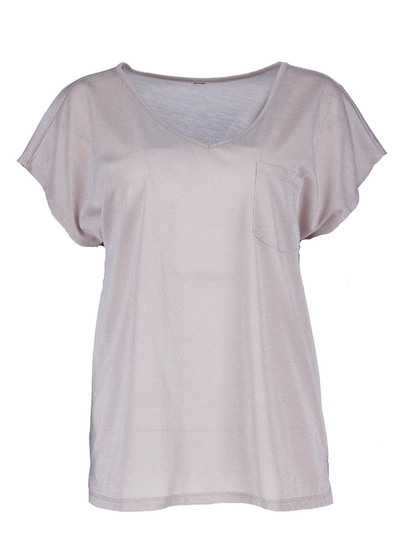 Lurex V-Neck Pocket Tee Womens