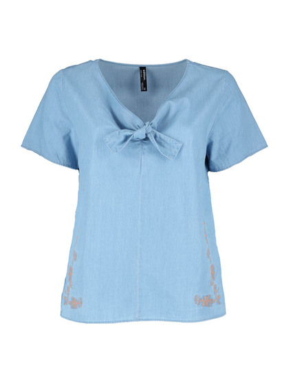 Plus Embroidered Chambray Tie Front Top Womens