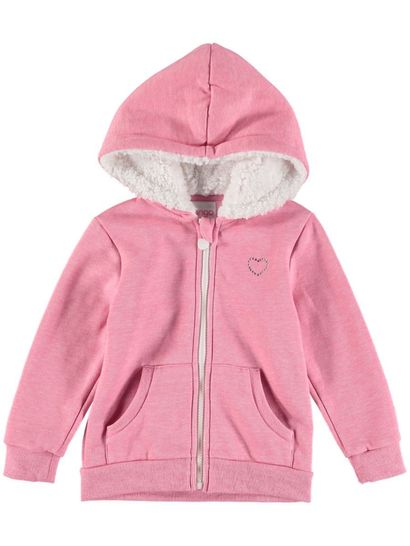 TODDLER GIRLS FLEECE JACKET-SHERPA LINED HOOD