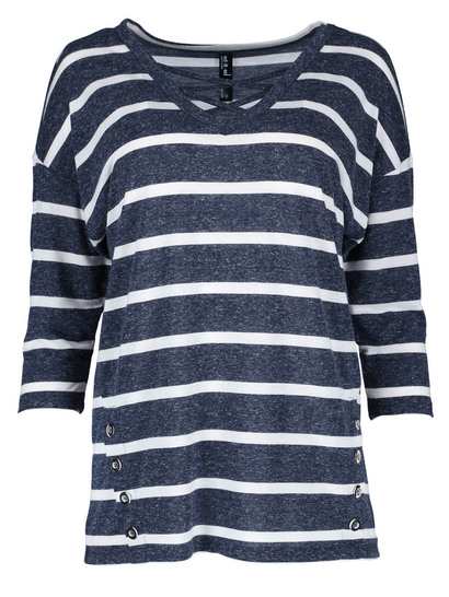Button Stripe Batwing Top Womens