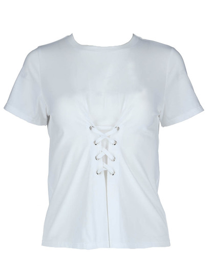 Miss Mango White Lace Up Tee